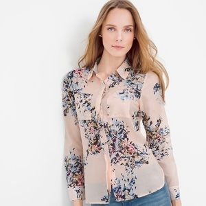 WHBM • Pink Floral Cotton & Silk Button Down Shirt